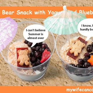 Kid Friendly Yogurt and Blueberry Beach Snack