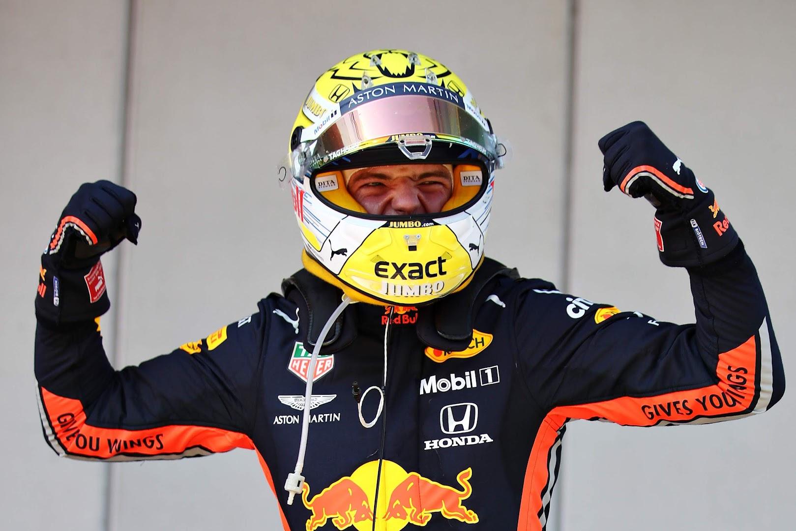 F1第9戦オーストリアGP、フェルスタッペン優勝でガッツポーズ