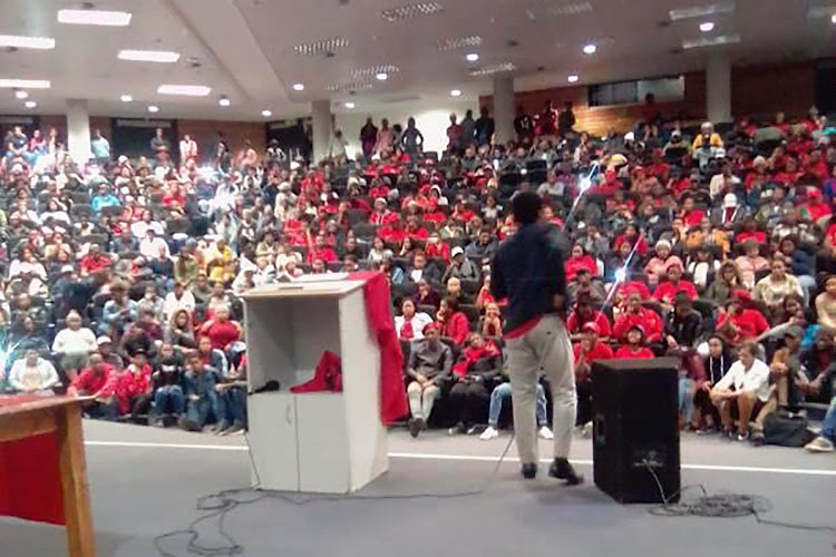 EFF national spokesperson Mbuyiseni Ndlozi addresses students at Walter Sisulu University's Mthatha campus on Tuesday evening