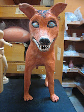 """Photo: """"nice doggie"""" .. out of the bisque' she is made of red clay, and hasn't been glazed yet in this pic"""