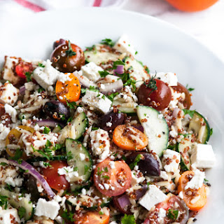 Quinoa Orzo Greek Salad.