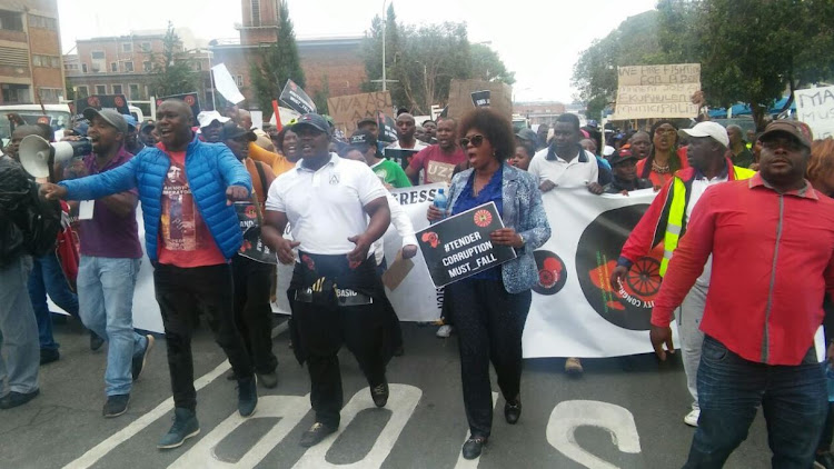 Dr Makhosi Khoza marching with security guards in Germiston.