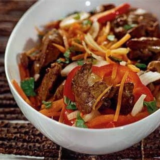 Warm Chicken Liver, Onion, Carrot, And Pepper Salad