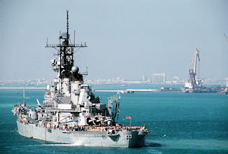 Photo: The battleship USS MISSOURI (BB-63) lies at anchor in a Persian Gulf region port during Operation Desert Storm.