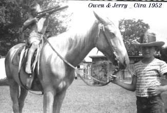 Photo: Jerry & his Palomino horse, Diamond cira 1953/54 Jerry's Brother, Owen, w/gun.