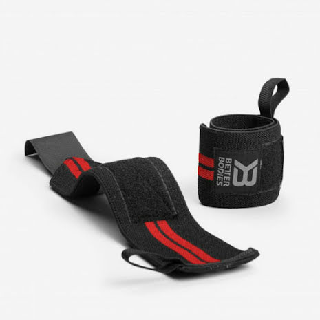 Better Bodies Elastic Wrist Wraps - Black/Red