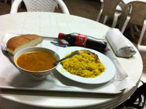 Photo: First meal at Morocco, bread, Harira soup, chicken and rice, Coca cola (no more beer...) and hidden in the paper, Meloui pancakes