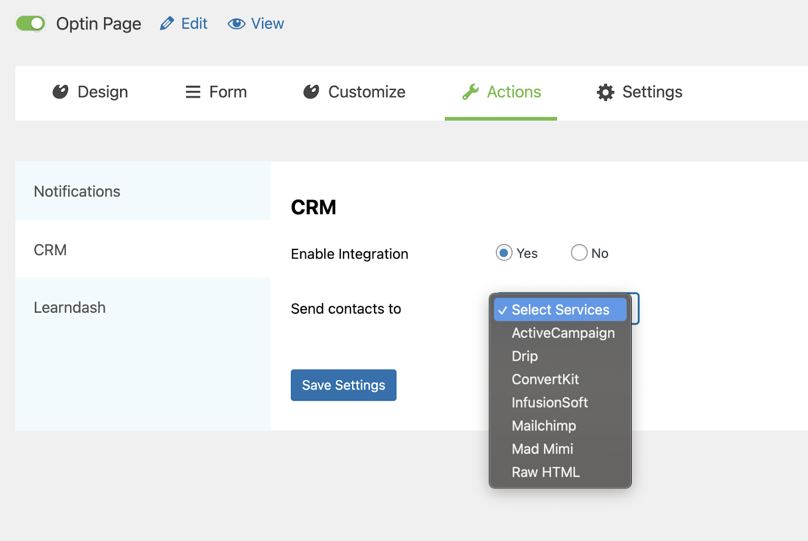 Select your CRM