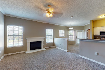 Living room with plush carpeting, brown walls, ceiling fan, and fireplace