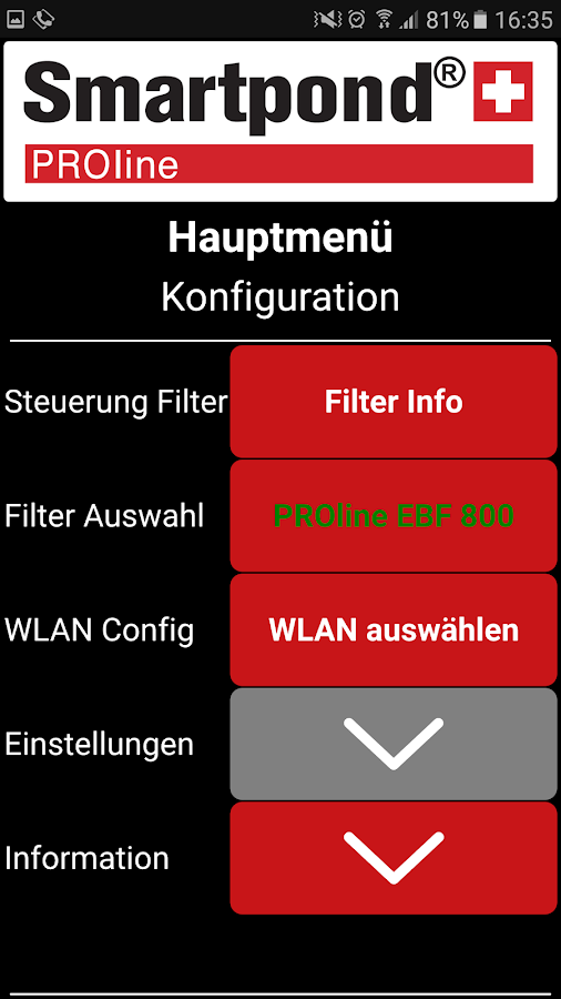 Smartpond® PROline® App – Screenshot