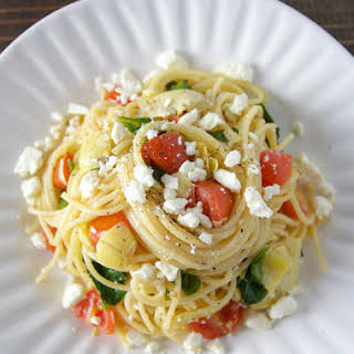 Quick Mediterranean Pasta with Feta Cheese.