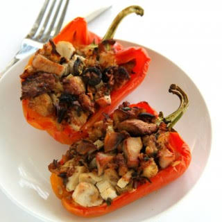 Turkey and Stuffing Stuffed Peppers.