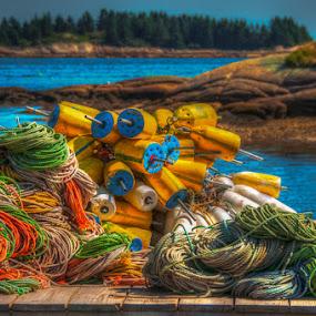 Downeast Dock by Chris Cavallo - Artistic Objects Industrial Objects ( east coast, maine, ocean, fishing, atlantic ocean, sea, bouy,  )