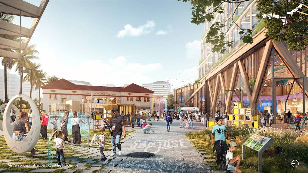 A rendering of the Gateway concept showing a plaza full of people and activities