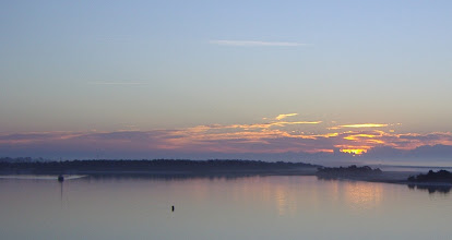 Photo: Early morning fog - looking east toward Town Marsh Island. Beaufort on the left, the inlet to the right.