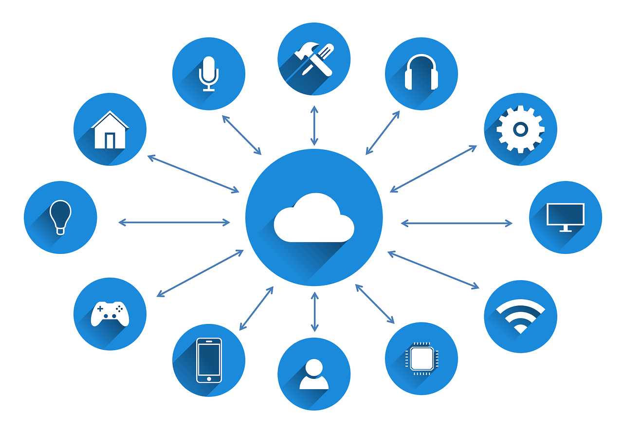 A blue cloud with tools symbols around the same