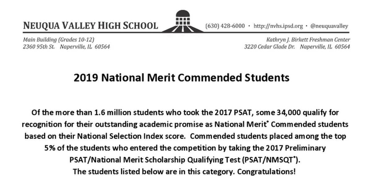 National Merit Commended 2019 - Google Docs