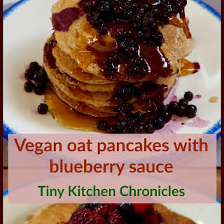 Easy Oat Pancakes With Blueberry Sauce.