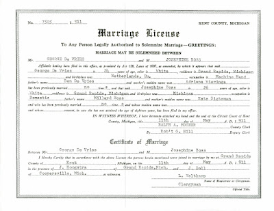 Devries Bos Marriage License Certificate Of