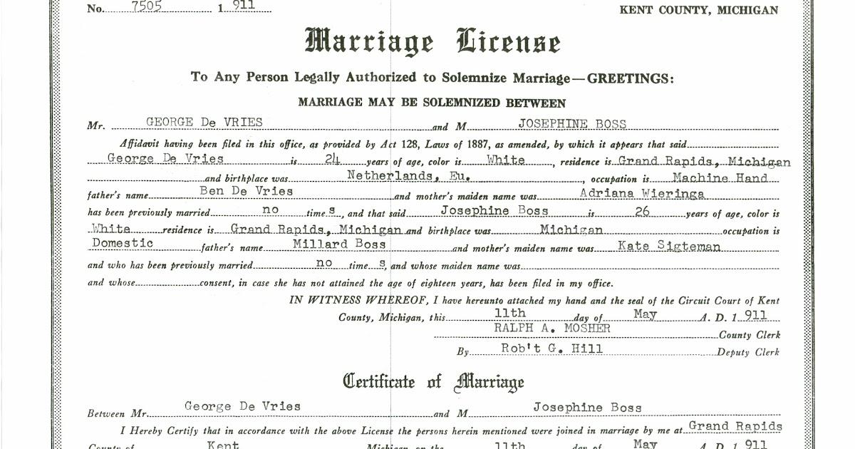 Ancestories The Stories Of My Ancestors Devries Bos Marriage
