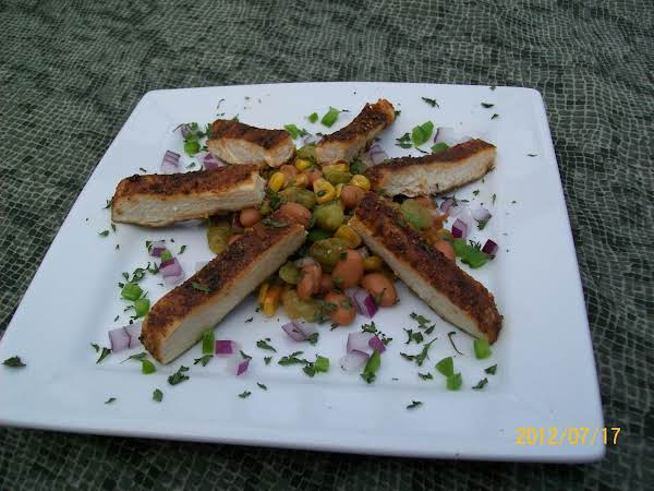 2 Bean Salad With Southwestern Style Chicken Breast Served Over It. Very Refreshing!