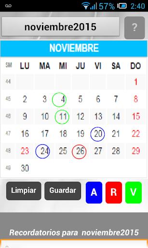 Calendario con recordatorio