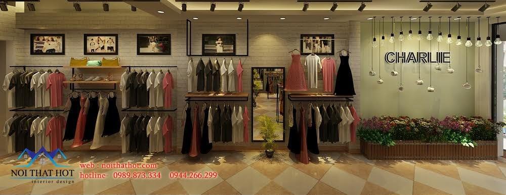 thiết kế shop thời trang tươi tắn