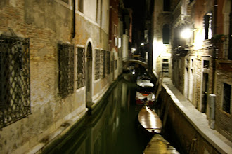 Photo: Blurry canal at night
