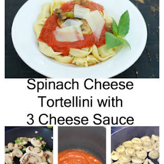 Spinach Cheese Tortellini with 3 Cheese Sauce.