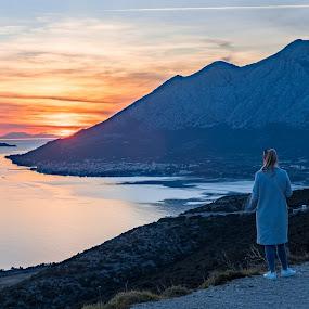 by Miho Kulušić - Landscapes Sunsets & Sunrises ( girl, sunset, sea, view, seascape, landscape, motion blur,  )