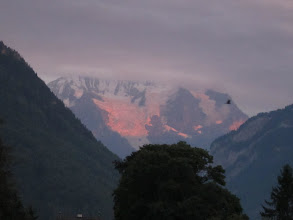 Photo: Sunset lights up the mountain for which the hotel was named.