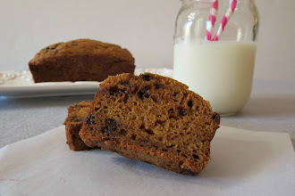 Photo: Pumpkin Bread with Chocolate Chips   - A healthy, sweet, moist quick bread made with pumpkin and little chocolate chips.  To get the recipe go here:  .http://www.peanutbutterandpeppers.com/2012/10/12/pumpkin-bread-with-chocolate-chips/  #pumpkin   #bread   #chocolate   #fallrecipes   #quickbread