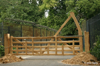 Photo: The magnificent new Gate at the bridge entrance to Ashenground Wood