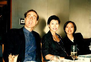 Photo: CJ & Gloria Wysocki dining with Sal, Peninsula Hotel, Kowloon, 1997