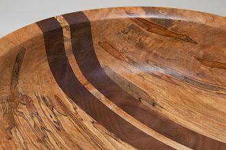 "Photo: Benji Omisora 14"" x 5 1/2"" bowl with stripes [spalted ambrosia maple, walnut]"