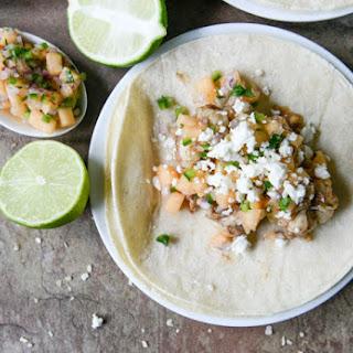 Jerk Shrimp Tacos with Spicy Melon Salsa.