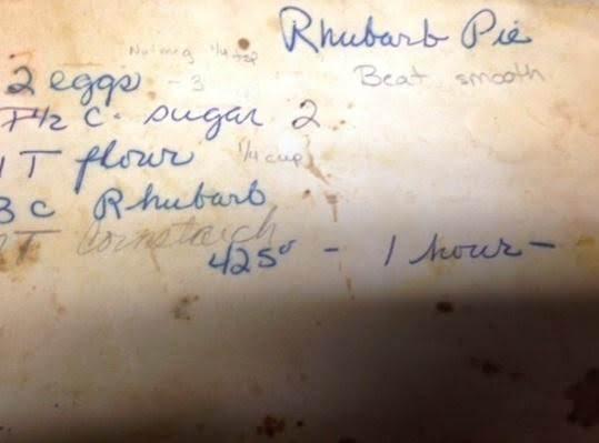 Rhubarb Pie Recipe - Original Handwritten Copy