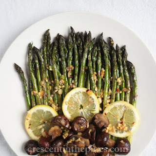 Roasted Asparagus and Mushrooms with Lemongrass-Ginger Dressing.