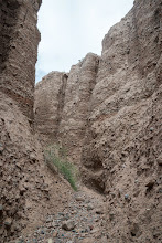 Photo: The walls of Little Slot are adobe with embedded stones; PEEC Slot canyons hike with Doug Scott
