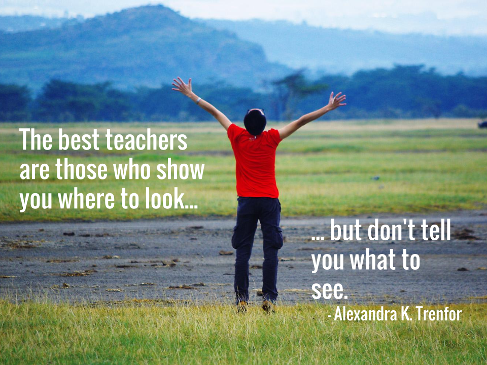 The best teachers are those who show you where to look, but don't tell you what to see. — Alexandra K. Trenfor