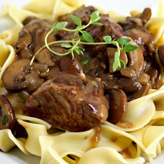 Steak Tips with Peppered Mushroom Sauce