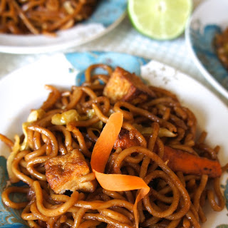 Spicy Pan-Fried Noodles with Tofu.