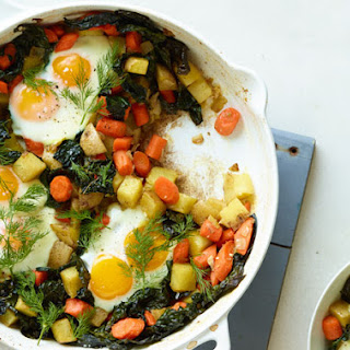 Spicy Hash with Eggs and Green Goddess Hollandaise