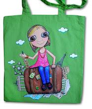 Photo: Bolsa de tela de algodón de unos 40x 37 cm, asa larga. Pintada a mano. Personalizable. Consultar colores disponibles y precio según ilustración.
