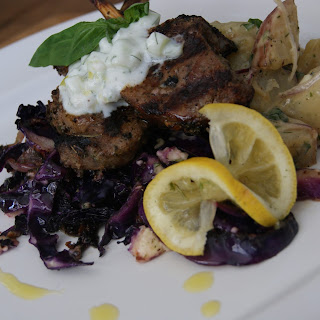 Grilled lamb chops with Purple Cabbage, Feta and a side of Warm Potato Salad.