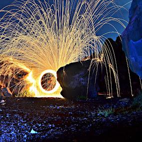 steel wool by Arifandi Krembong - Abstract Fire & Fireworks ( gunung batu, steel wool, rock, night, fire, fireworks, new year, dipawali, diwali, 2014 )