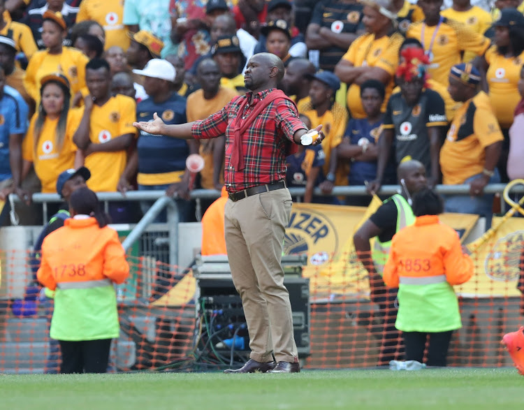 Kaizer Chiefs' head coach Steve Komphela reacts in frustration on the touchline during the Absa Premiership Soweto Derby match against Orlando Pirates at FNB Stadium, Soweto on 03 March 2018.