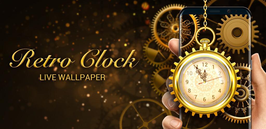 The Description Of Retro Golden Clock Wallpaper
