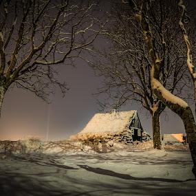by Kaspars Dzenis - Landscapes Starscapes ( iceland, reykjavik, night, house, landscape )