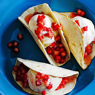 Ice Cream Tacos with Strawberry, Tequila and Lime Salsa.